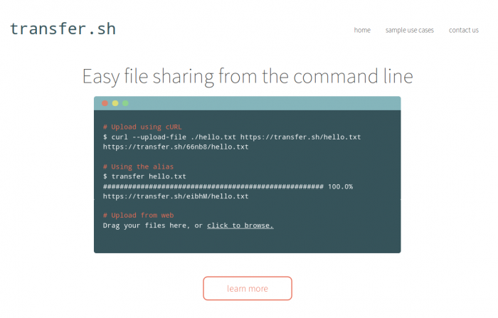 transfer sh – Easy file sharing from the command line – Oopsbox